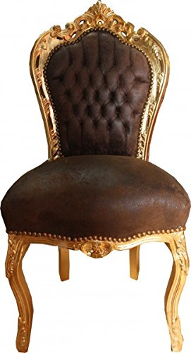 leather wing chairs uk the chair store casa padrino baroque dinner brown look / gold – furniture | shabbychic-london.co.uk