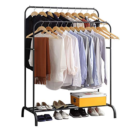 gissar clothing double rail garment rack with shelves metal hang dry clothing rail for hanging clothes with top rod organizer shirt and lower storage