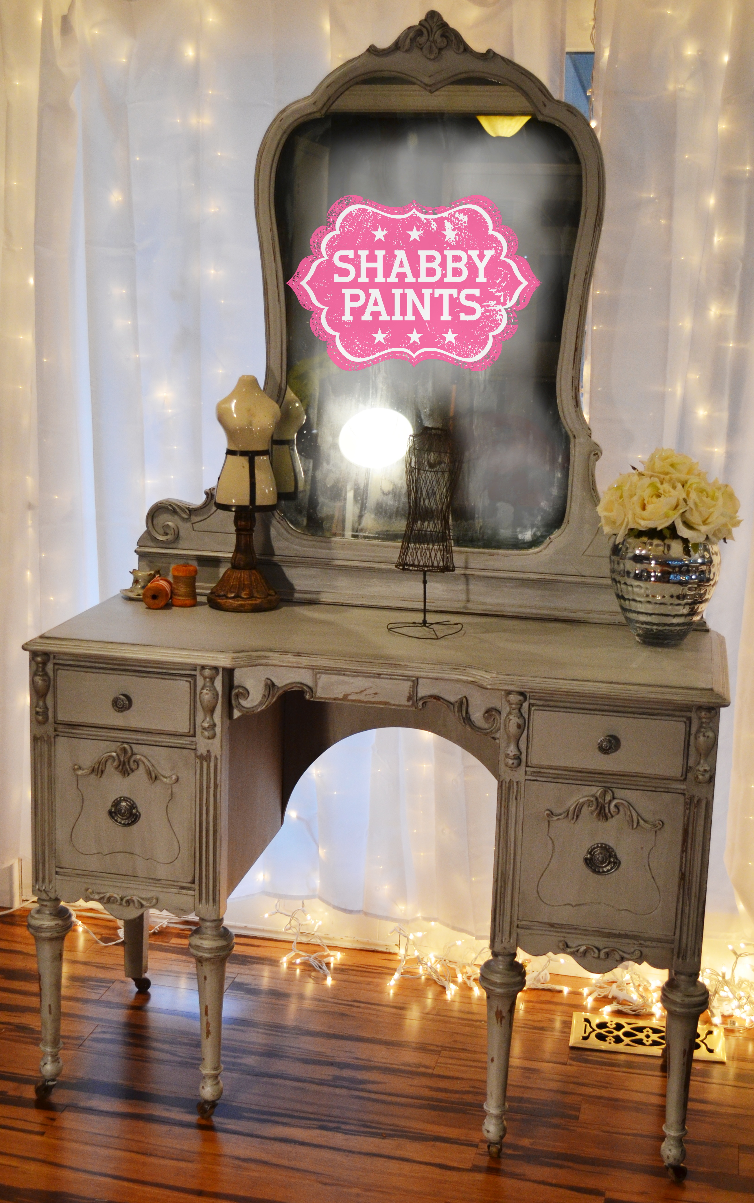 Hollywood DivaChalk Painted Vanity  Shabby Paints