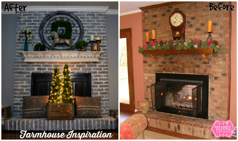 Before and After Brick Painted Fireplace