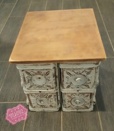 Repurposed Sewing Drawers. Coffee Stand and storage