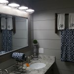 Farmhouse bathroom shiplap subway tile