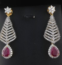 American Diamond CZ Long Earrings With Rubies, Indian