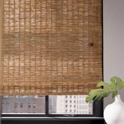 Rustic Contemporary Living Room Grey And Yellow Curtains (nh) Natural Grass & Wood Shades | Bayside Blind Shade ...