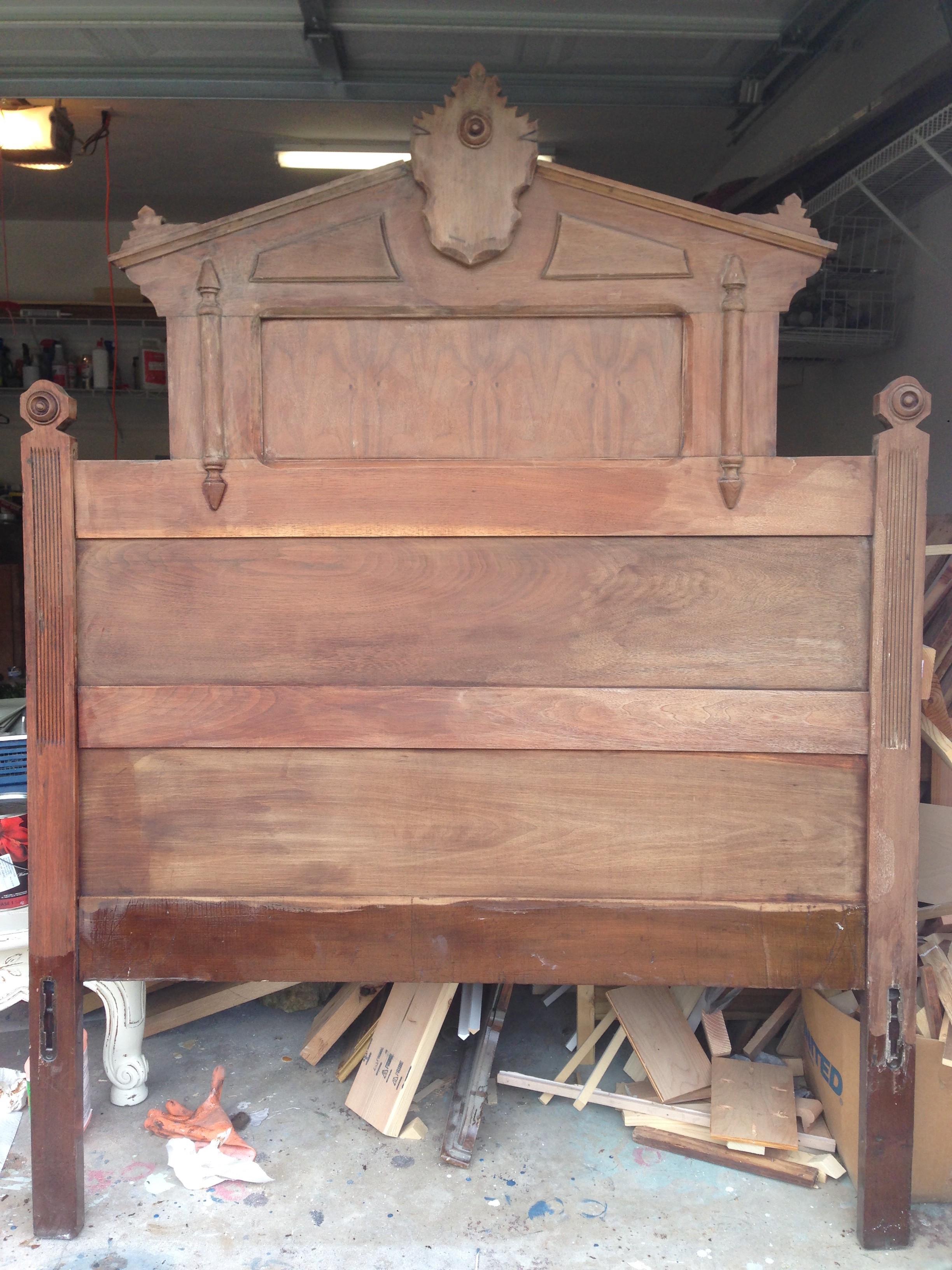 rustic eastlake headboard in master bedroom