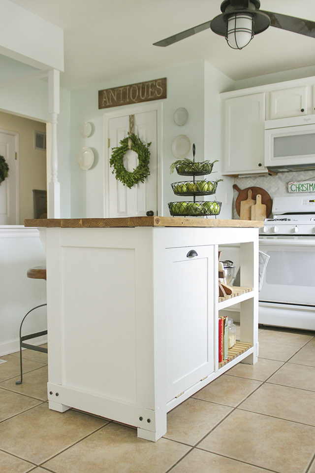 diy kitchen island with trash storage