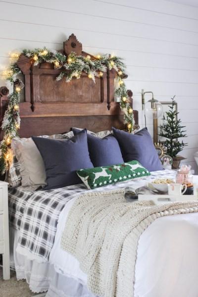 master bedroom decorating ideas christmas Rustic Christmas Master Bedroom - Shades of Blue Interiors
