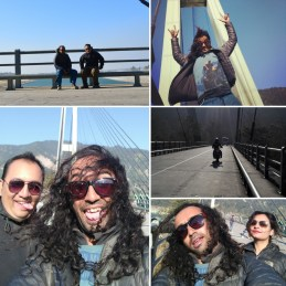 Fooling around Karnali Bridge : Enjoying the wind on our face.