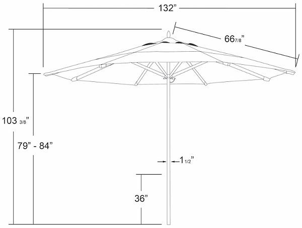 11' Foot Single Pole Sunbrella® AA Commercial Aluminum
