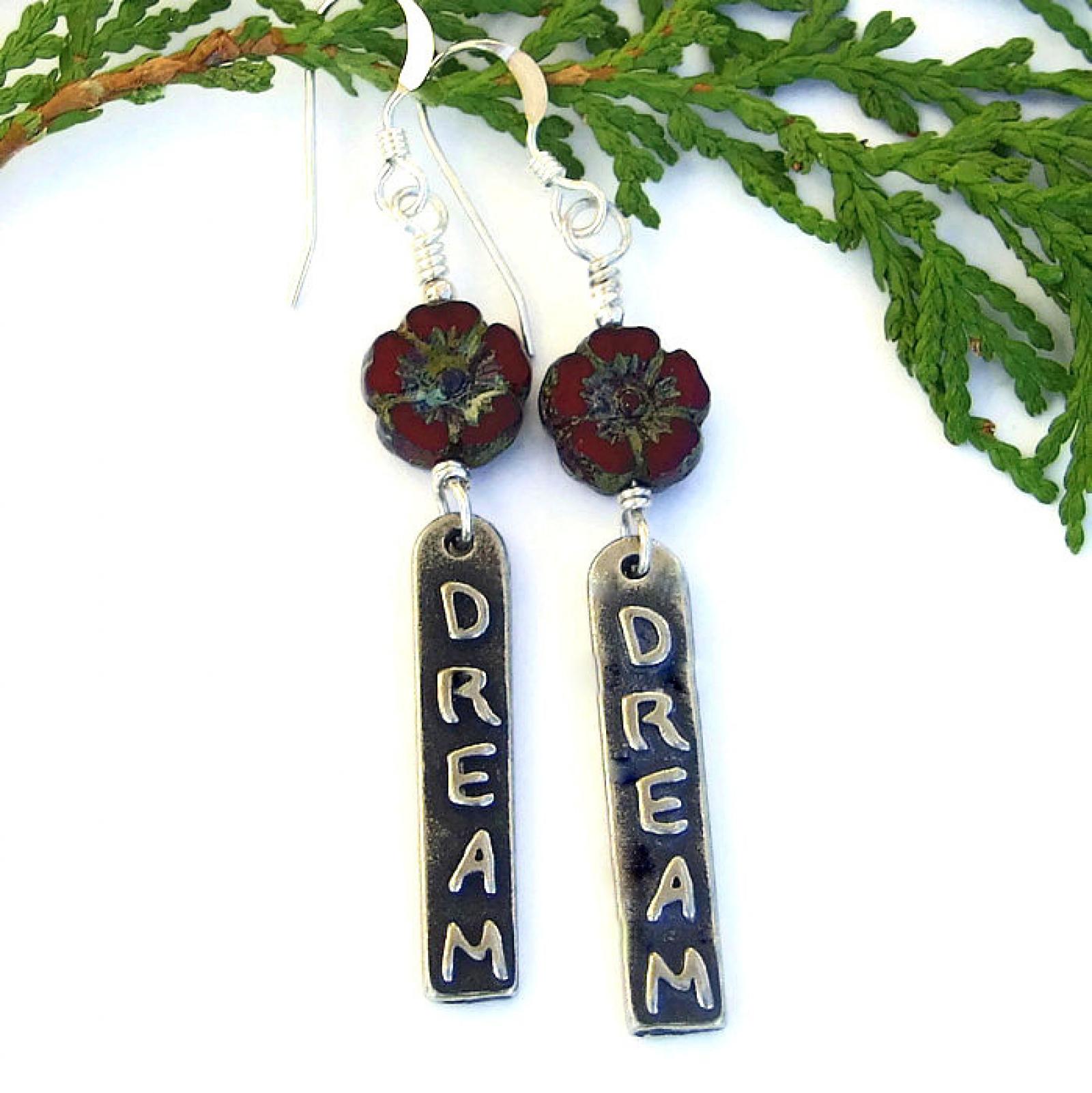 Dream Inspirational Word Earrings, Red Flower Boho