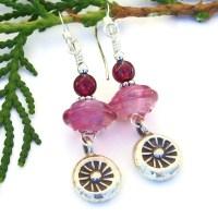 Thai Suns Pink Lampwork Earrings, Garnet Handmade ...