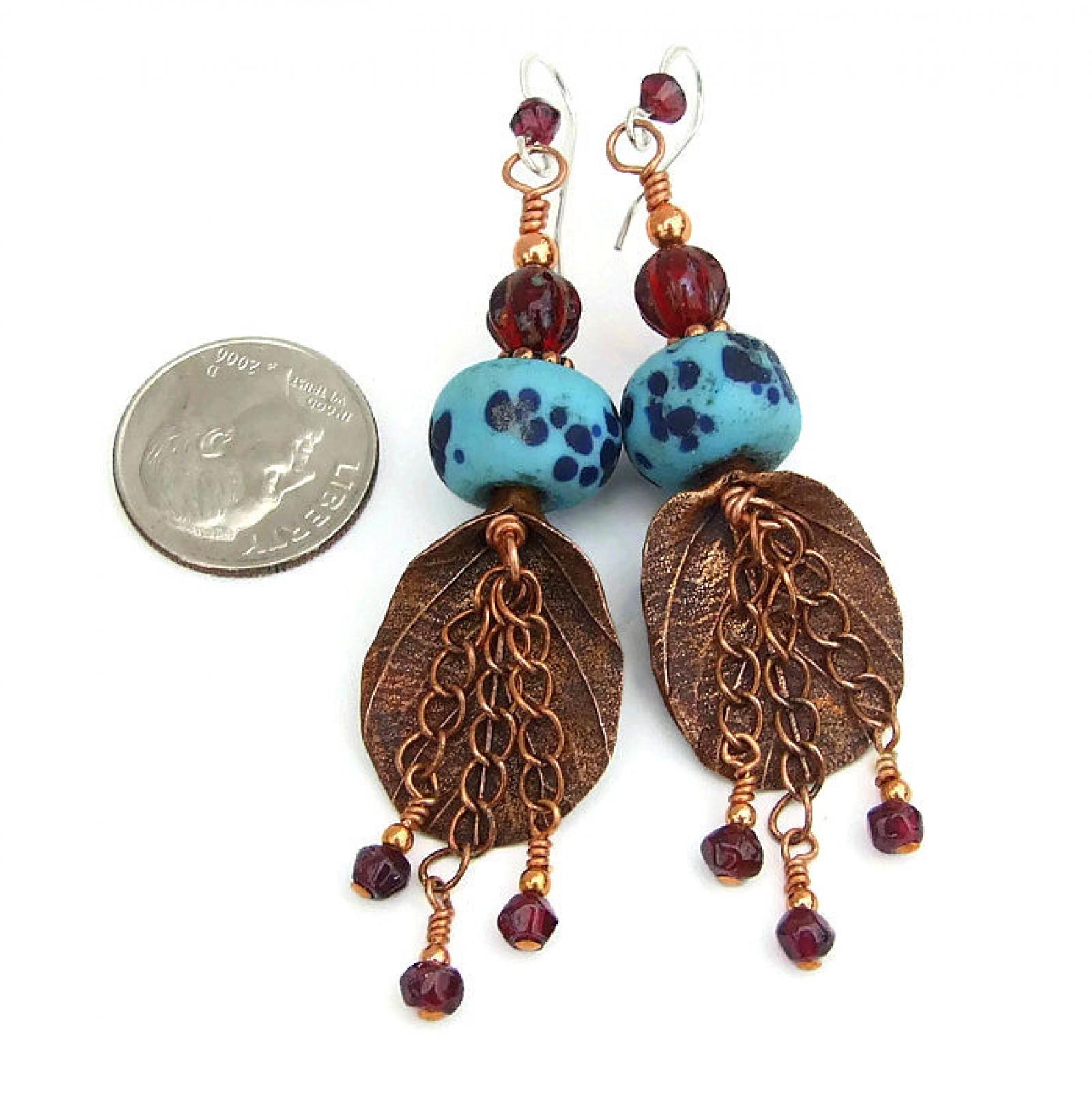 Rainforest Leaf Boho Earrings, Copper Garnet Lampwork