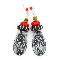 Zebra Earrings, African Batik Beads Red Coral Handmade ...