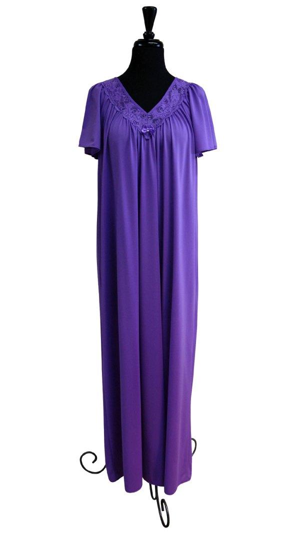 Women' Long Lace -neck Nightgown Shadowline Lingerie