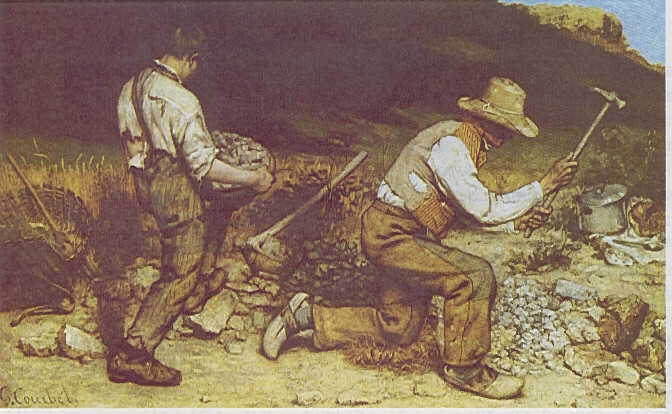 """courbet stonebreakers With """"the stone breakers"""", courbet marked an aesthetic innovation in history of  art at the first time, peasants and the lower class with their poor life are the."""