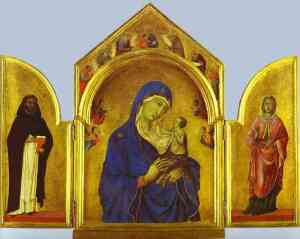 Duccio_Triptych_Virgin_Child_St_Dominic_and_Aurea_c1300