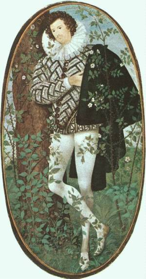 Nicholas Hilliard, Portrait of a young man among roses