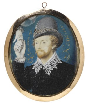 Nicholas Hilliard, Portrait of an Unknown Man Clasping a Hand from a Cloud, 1588
