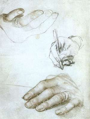 Holbein Three Studies of Hands c1523