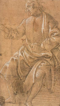 Filippino Lippi  Seated Man Raising His Right Arm  1485 -  Metalpoint   heightened   with   white  on  prepared   paper  - 170 x  99 m m Filippino's  graphic   oeuvre   includes  a  large   number  of  figure   studies,  both   draped   and   nude....