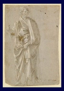 Filippo Lippi (shop), 'Drapery study' c. 1450 (Oxford, Ashmolean) is the slide referred to in the lecture but the one opposite was the closest that could be found.