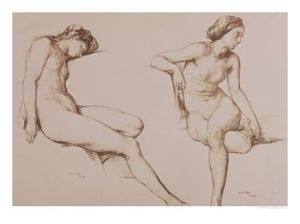 Mulready Sepia Drawing of Nude Woman c1860