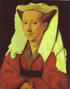 Jan van Eyck. Portrait of Margaret van Eyck, Artist's Wife(?). 1439. Oil on wood. Stedelijk Museum voor Schone Kunsten, Bruges, Belgium.
