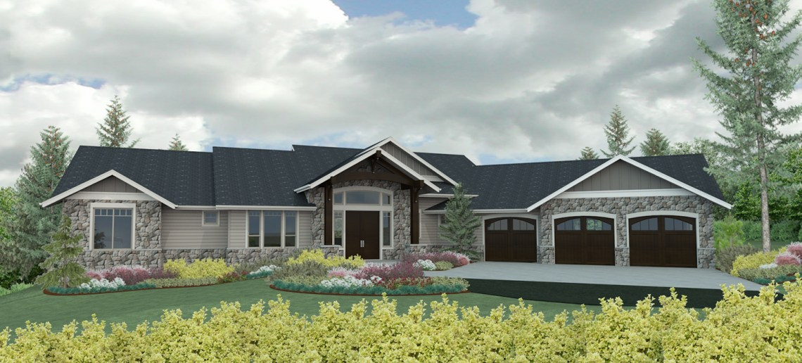 Shaffer Inc. Contemporary Timber Custom Home Render