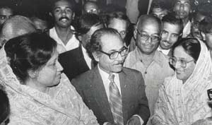 Historic photograph of head of first caretaker government Justice Shahabuddin Ahmed with leaders of the opposition Sheikh Hasina and Khaleda Zia. Photo by Azizur Rahim Peu