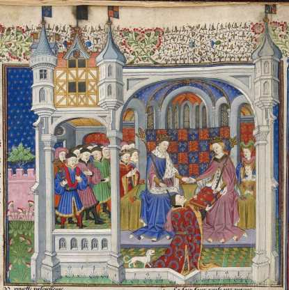 John Talbot's presentation of the Book of Shrewsbury to Queen Margaret of Anjou ca 1445 AD. Public domain, courtesy of the British Library Royal.