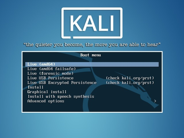 Kali linux installation boot menu screenshot