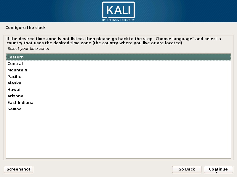Install Kali Linux 2018 in VMware Workstation 14- Configure Clock Screenshot