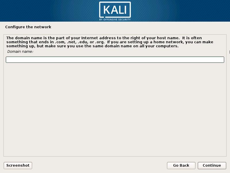 Install Kali Linux 2018 in VMware Workstation 14- Configure the Network- Enter Domain Name Screenshot