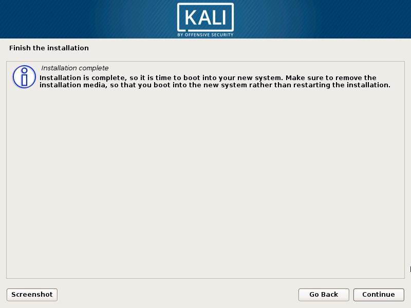 Install Kali Linux 2018 in VMware Workstation 14- Installation Complete Screenshot