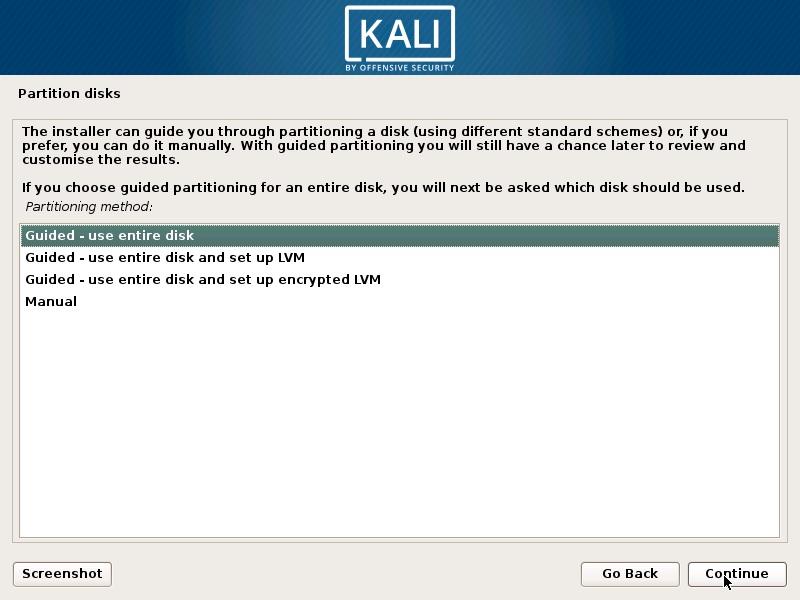 Install Kali Linux 2018 in VMware Workstation 14- Partition Disk Screenshot