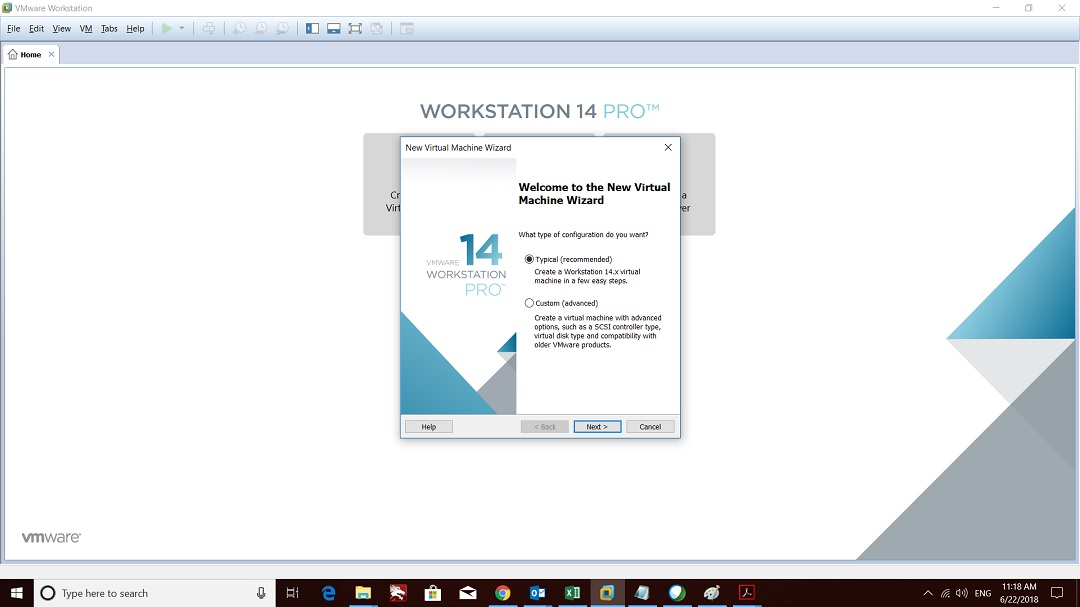 VMware workstation home - create a new virtual machine wizard - welcome screen screenshot