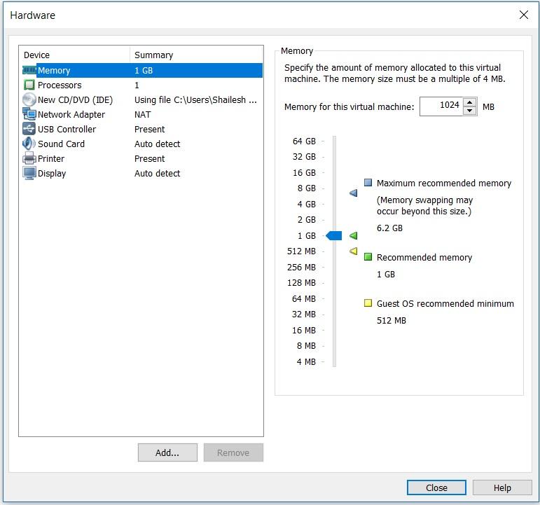 VMware workstation home - create a new virtual machine wizard - hardware memory setup screenshot