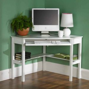 furniture-interior-ideas-white-glossy-wooden-computer-desk-with-l-shaped-open-shelf-and-white-lamp-also-plant-decor-on-green-corner-wall-fascinating-corner-desk-with-shelves-and-drawers-936x936