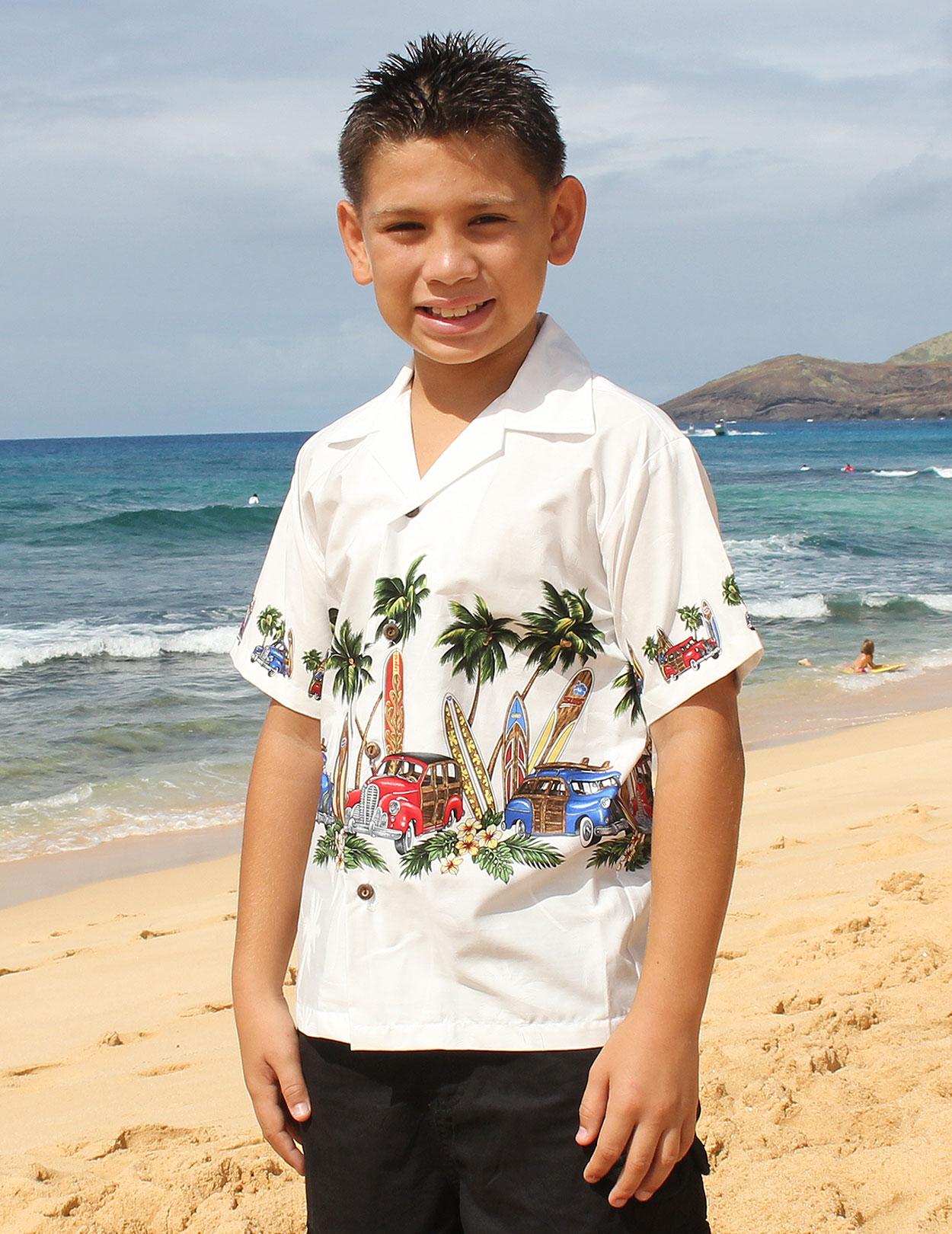 Hawaiian Boys White Shirt
