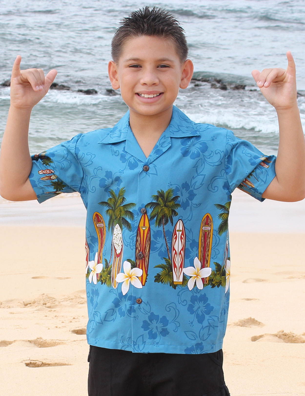 Surfing Classic Boards Boys Aloha Shirt Shaka Time Hawaii