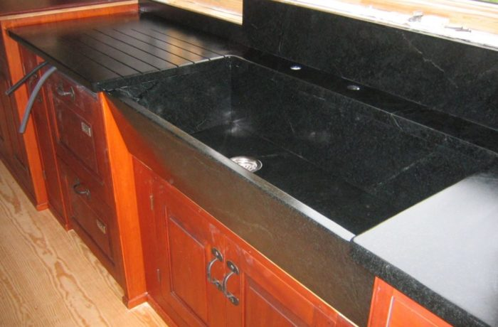 soapstone sink with custom drainboard