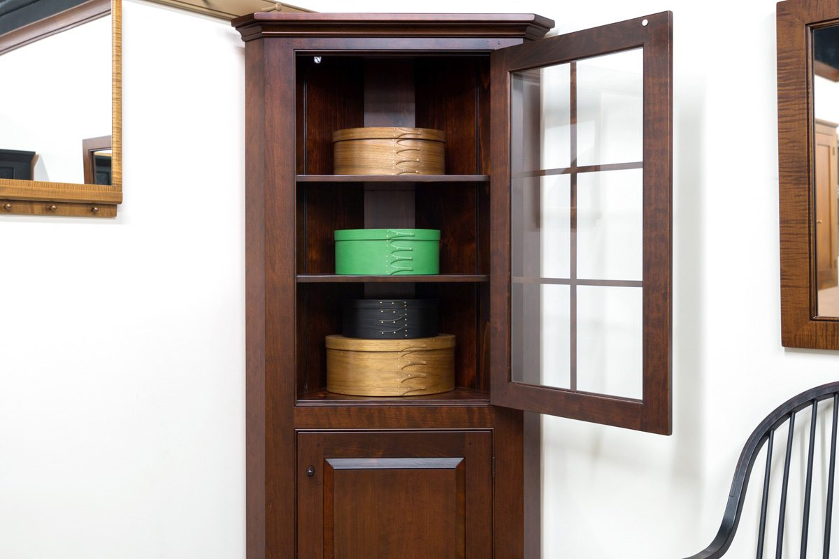 Small Corner Cabinet with Glass Door  Shaker Shoppe