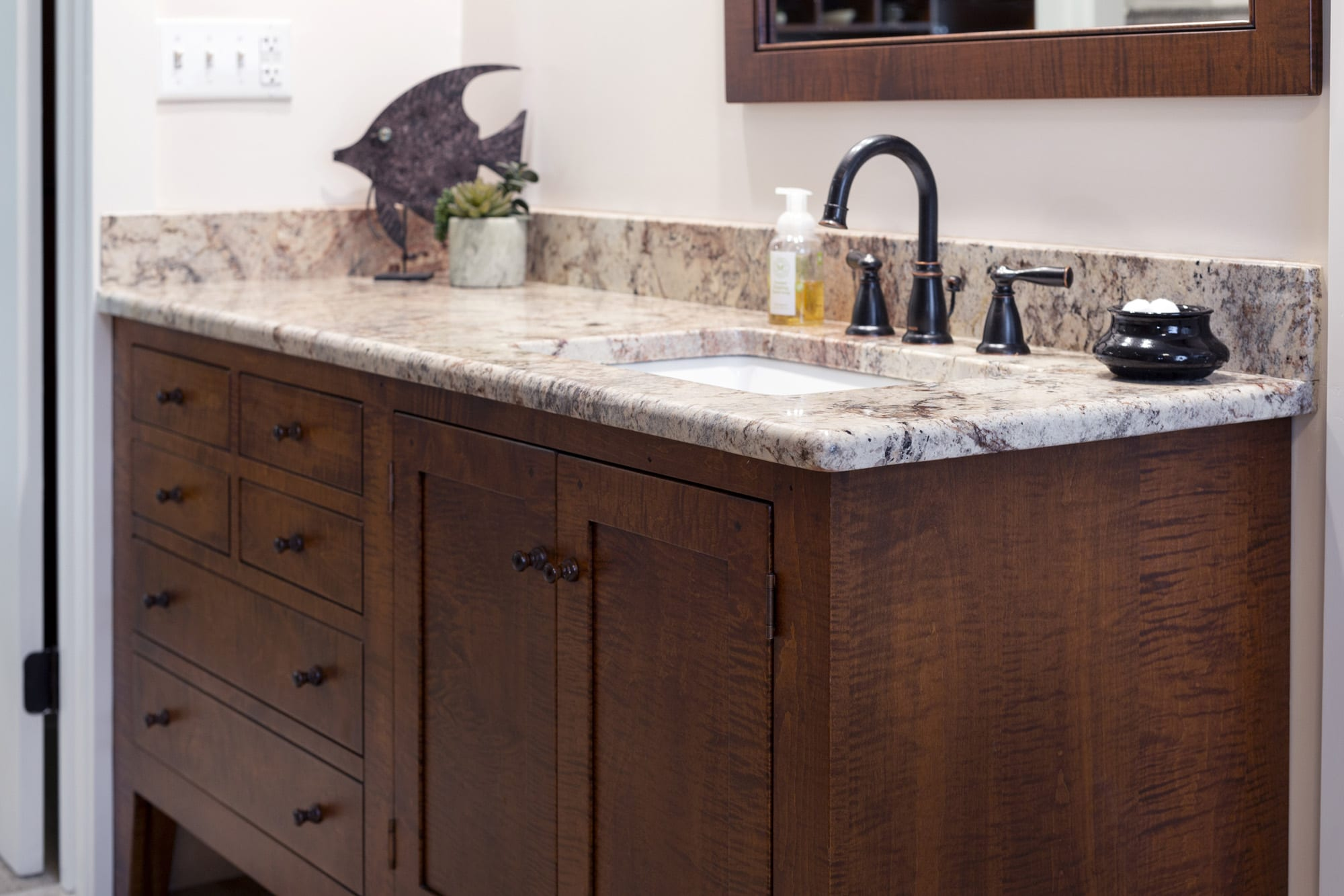 Shaker Style Bathroom Vanities Of High Quality In Tiger Maple Cherry