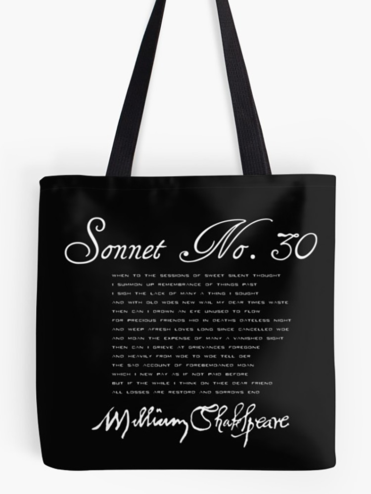 Shakespeare Sonnet No. 30 (Light Version) Tote Bag