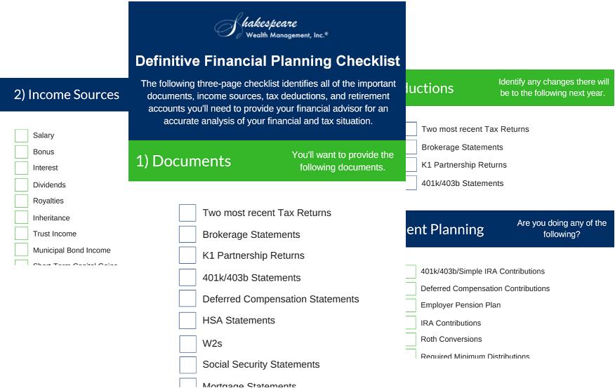 Financial planning checklist