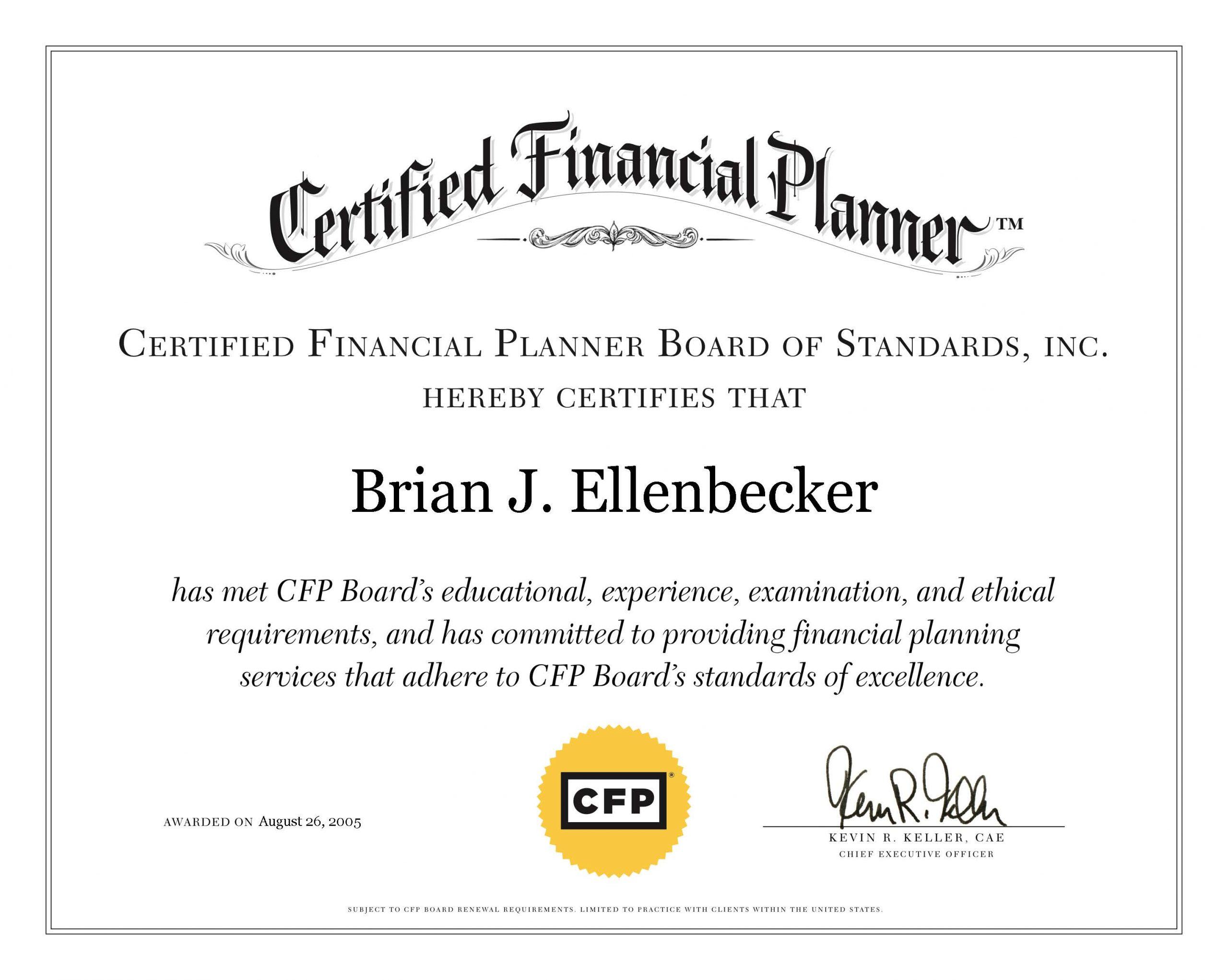 Brian Ellenbecker CFP Certificate
