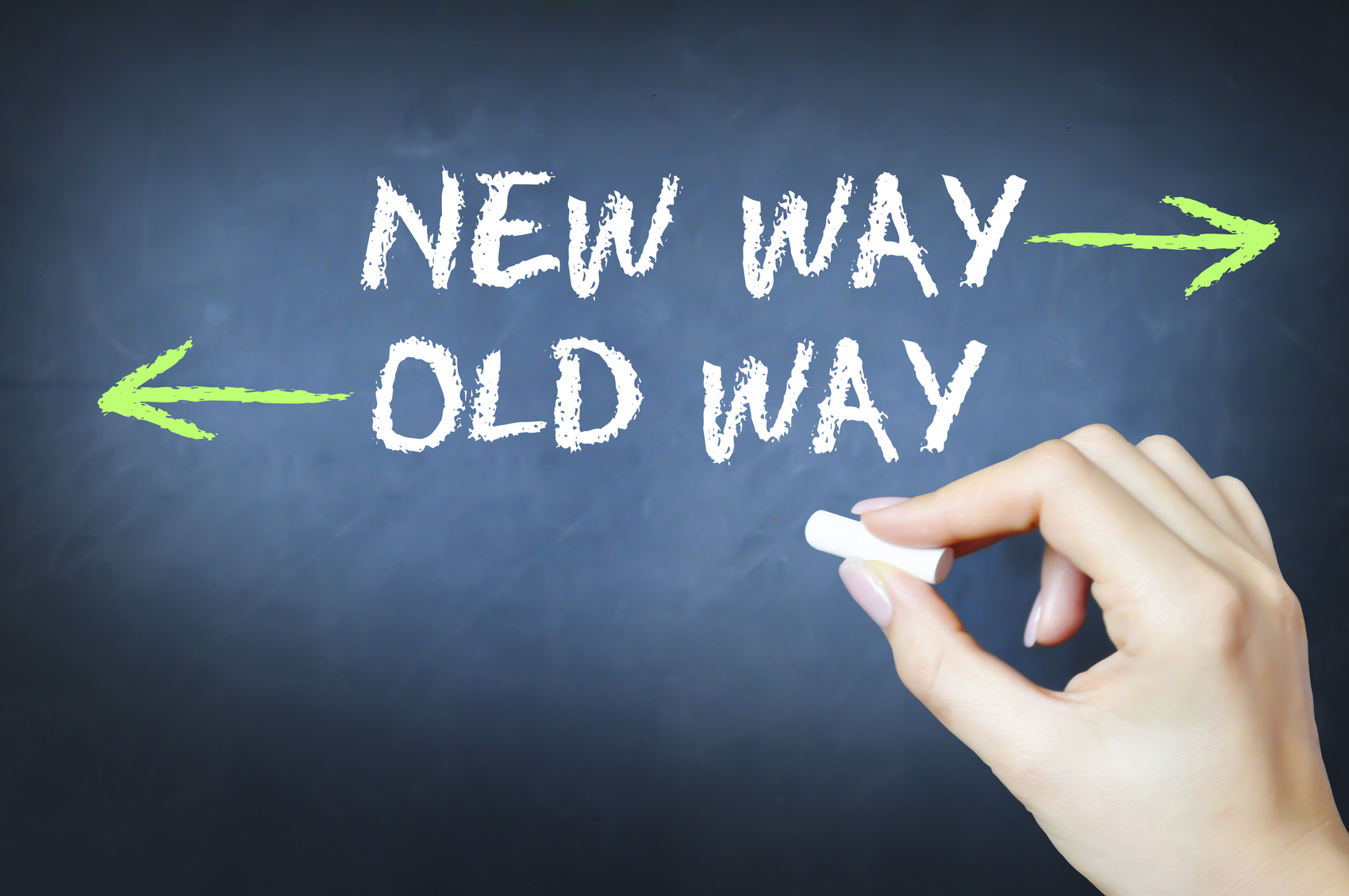 hight resolution of new way versus the old way concept