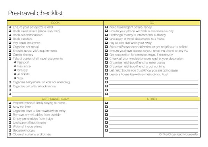 before you travel checklist