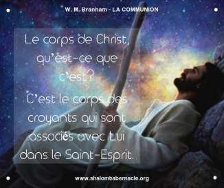 Le corps de Christ, qu'est-ce que c'est ? C'est le corp des croyants qui sont associés avec lui dans le Saint-Esprit.