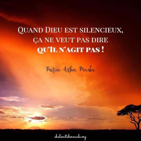 Quand Dieu est silencieux ça ne veut pas dire qu'Il n'agit pas...